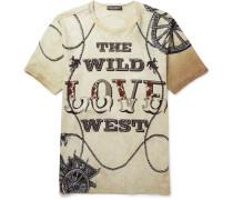 Raw-edged Printed Cotton-jersey T-shirt