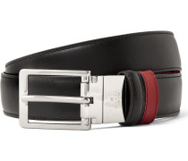 3cm Black And Red Reversible Leather Belt