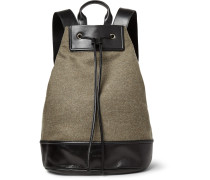 Leather-trimmed Felted Wool-blend Backpack