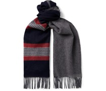 Reversible Fringed Cashmere and Merino Wool-Blend Scarf