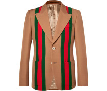Camel Striped Wool And Silk-blend Crepe Suit Jacket