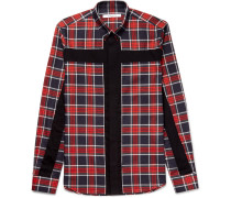 Slim-fit Button-down Collar Panelled Checked Cotton-twill Shirt