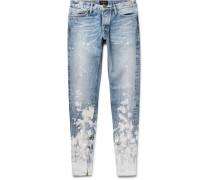 Skinny-fit Zip-detailed Painted Selvedge Denim Jeans
