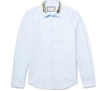Slim-fit Embroidered Cotton-poplin Shirt
