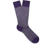 Fabian Herringbone Cotton-blend Socks
