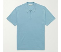 Knitted Cotton Half-Zip Polo Shirt