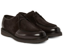 Leather-panelled Suede Derby Shoes