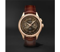 Heritage Pulsograph Limited Edition Hand-Wound Chronograph 40mm 18-Karat Rose Gold and Alligator Watch, Ref. No. 126095