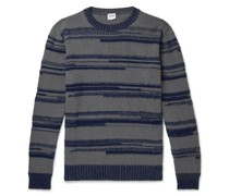 Striped Intarsia Cotton-Blend Sweater