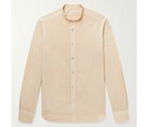 Grandad-Collar Striped Cotton-Seersucker Shirt