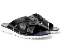 Woven Leather Slides