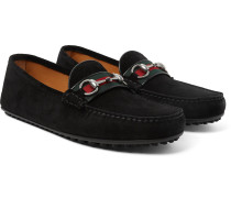 Horsebit Webbing-trimmed Suede Loafers