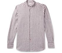 Grandad-Collar Striped Linen Shirt