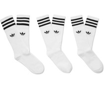 Three-Pack Striped Cotton-Blend Socks