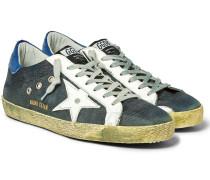 Superstar Distressed Leather-trimmed Denim Sneakers