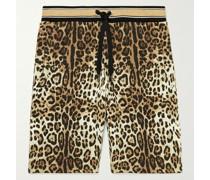 Leopard-Print Cotton-Jersey Drawstring Shorts
