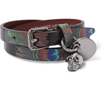 Peacock Feather-print Leather Wrap Bracelet