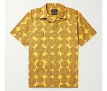 Camp-Collar Printed Cotton-Dobby Shirt