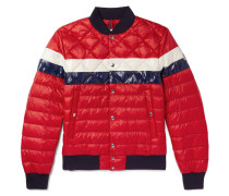 Itiner Striped Quilted Shell Down Bomber Jacket