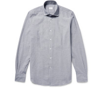 Slim-fit Puppytooth Cotton-jacquard Shirt