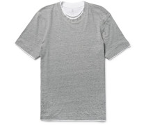 Slim-fit Layered-trim Cotton-jersey T-shirt