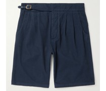 Riviera Pleated Cotton and Cashmere-Blend Twill Shorts