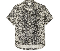 Camp-collar Leopard-print Brushed-twill Shirt