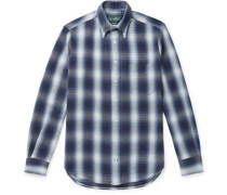 Button-Down Collar Checked Cotton-Flannel Shirt