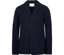 Blue Unstructured Virgin Wool Blazer
