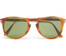 Round-frame Folding Tortoiseshell Acetate Sunglasses