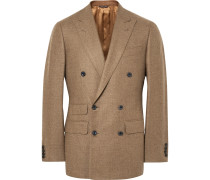 Sand Slim-fit Double-breasted Wool Blazer