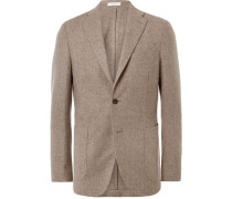 Oatmeal Slim-fit Wool And Cashmere-blend Blazer