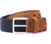 3.5cm Suede-trimmed Canvas Belt