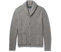 Shawl-collar Ribbed Cashmere Cardigan