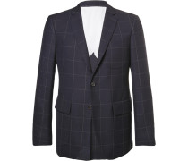 Blue Slim-fit Windowpane-checked Wool Blazer