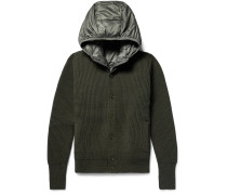 Ribbed Virgin Wool Cardigan With Detachable Hooded Down Gilet