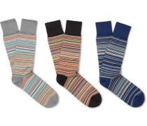 Three-pack Striped Stretch Cotton-blend Socks
