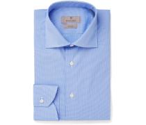 Blue Cutaway-collar Puppytooth Stretch Cotton-blend Shirt