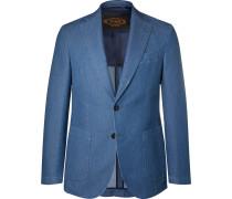 Blue Slim-fit Washed-denim Blazer