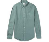 New Derek Slim-fit Button-down Collar Linen Shirt