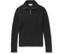 Ribbed Cotton Half-zip Sweater