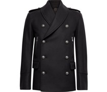 Double-Breasted Virgin Wool-Blend Pea Coat