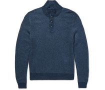 Funnel-neck Suede-trimmed Silk Sweater