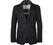 Blue Herringbone Wool Blazer