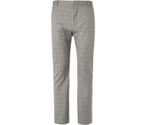 Beige Slim-fit Checked Cotton Suit Trousers