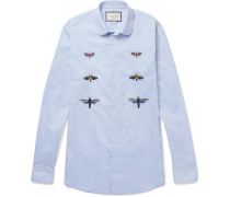 Duke Slim-fit Penny-collar Embroidered Cotton Shirt
