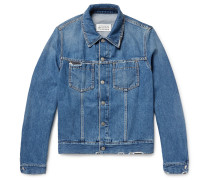 Corduroy-trimmed Distressed Denim Jacket