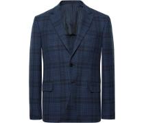 Navy Slim-fit Checked Cotton Blazer