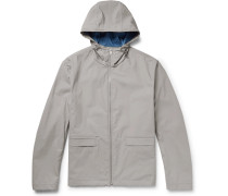 Coated Cotton-blend Shell Hooded Jacket