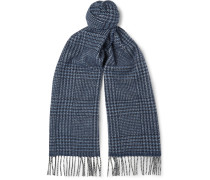 Prince Of Wales Checked Wool And Angora-blend Scarf